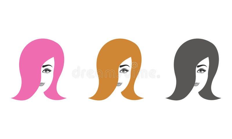 Roze grijze orang-oetan van meisjes de hoofd vastgestelde vectorontwerpen royalty-vrije illustratie