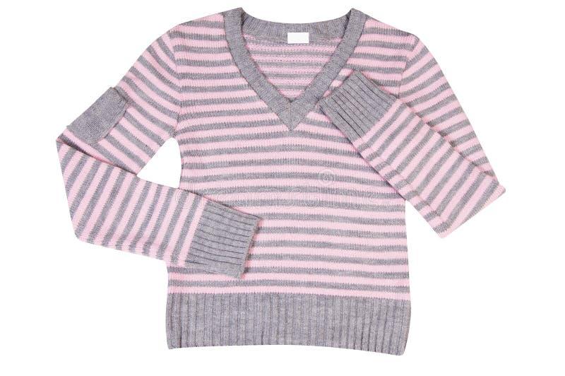 Roze-grijze sweater op een wit. royalty-vrije stock afbeelding