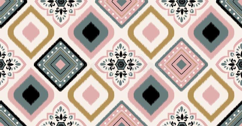 Roze groen geometrisch naadloos patroon in Afrikaanse stijl Vectorillustratiegebruik voor ikatpatroon, behang en wijnoogst royalty-vrije stock foto's