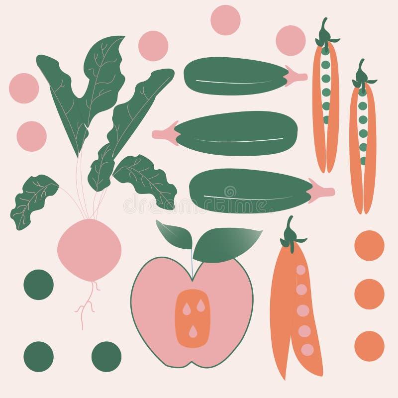 Roze, groene en oranje groenten Het winkelen markeringen en pictogrammen royalty-vrije illustratie