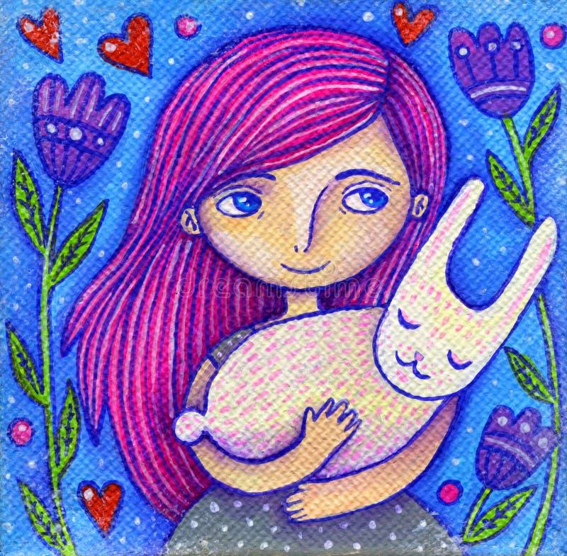 Roze Haarmeisje met Konijn stock illustratie