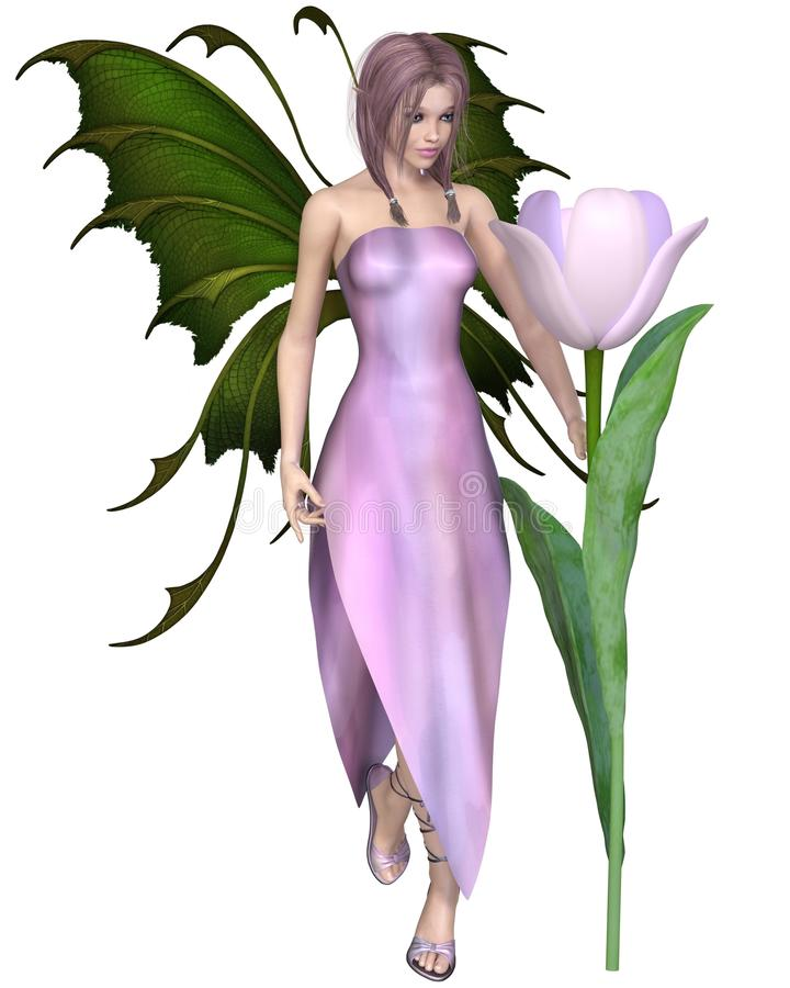 Roze Haired Tulip Fairy stock illustratie