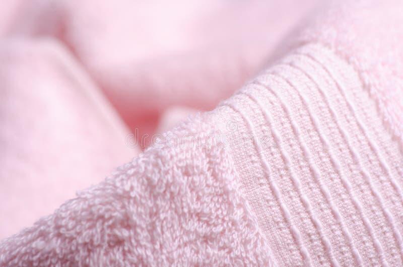 Roze handdoekmacro stock afbeeldingen