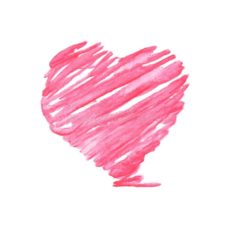Roze hart, Hand het getrokken waterverfillustratie schilderen geïsoleerd op witte achtergrond stock illustratie