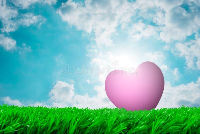 Roze hart op het gras voor liefde stock foto