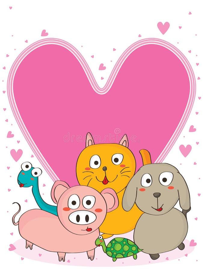 Roze hart van de huisdierenvitaminen (mices) vector illustratie