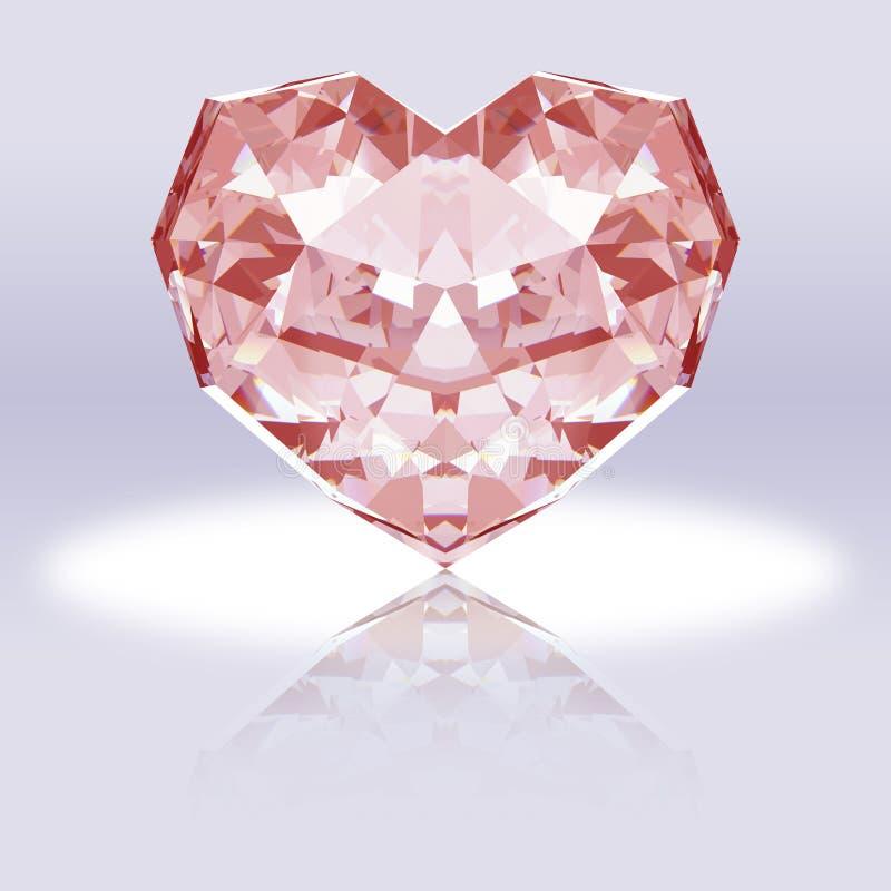 Roze hart-vormige diamant met bezinning royalty-vrije stock foto's