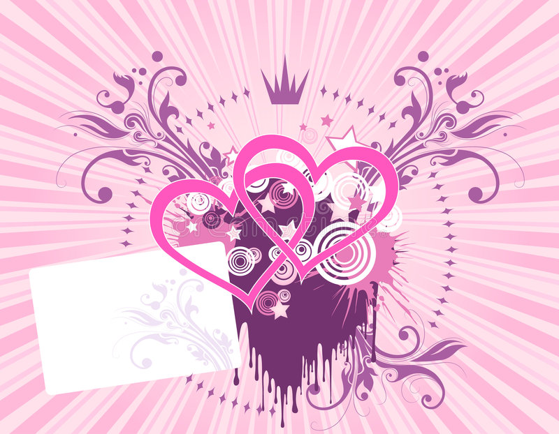 Roze hartachtergrond vector illustratie
