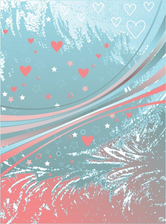 Roze harten en linten stock illustratie