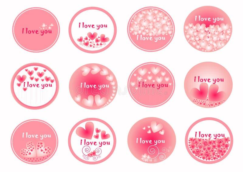 Roze Harten op de cirkelgroep, ideaal voor valentijnskaartendag, de reeks van het hartpictogram, vectorinzameling van hart, vlak  royalty-vrije illustratie