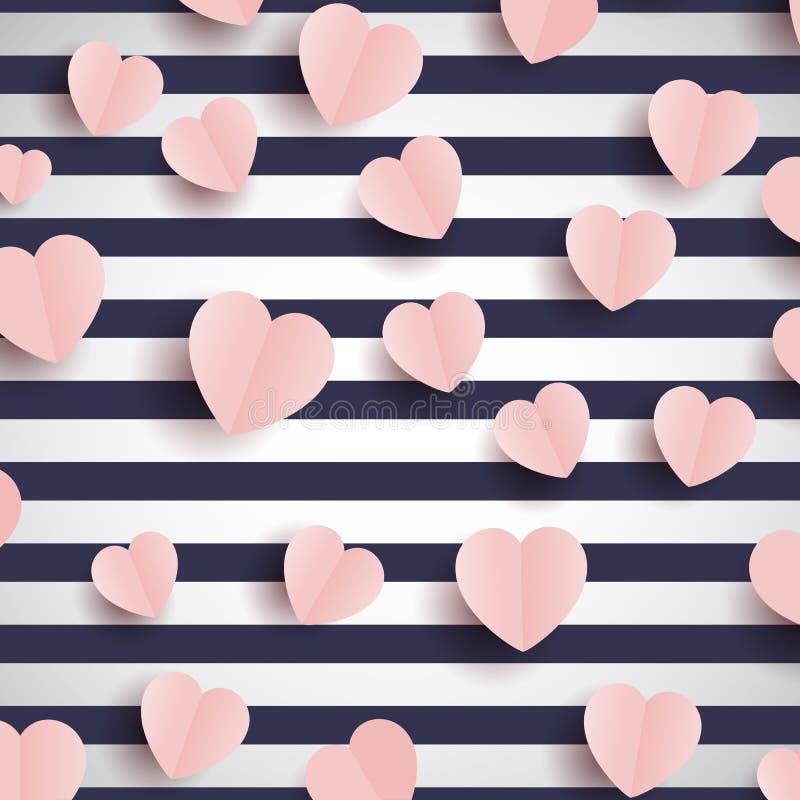 Roze harten op een gestreepte achtergrond royalty-vrije illustratie