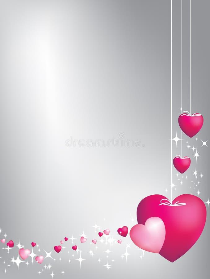 Roze harten op koorden royalty-vrije illustratie