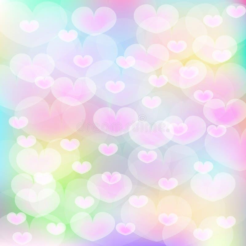 Roze harten over multikleurenachtergrond vector illustratie