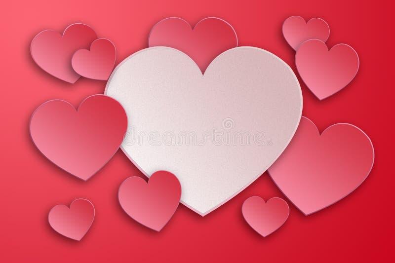 Roze harten, valentijnskaart` s dag, plaats voor tekst vector illustratie