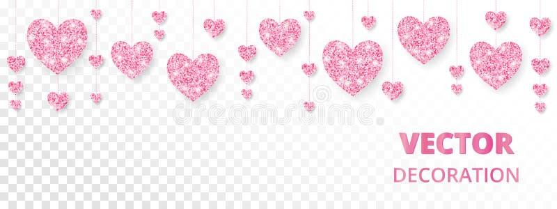 Roze hartenkader, grens De vector schittert geïsoleerd op wit Voor Valentine en de kaarten van de Moedersdag, huwelijksuitnodigin royalty-vrije illustratie
