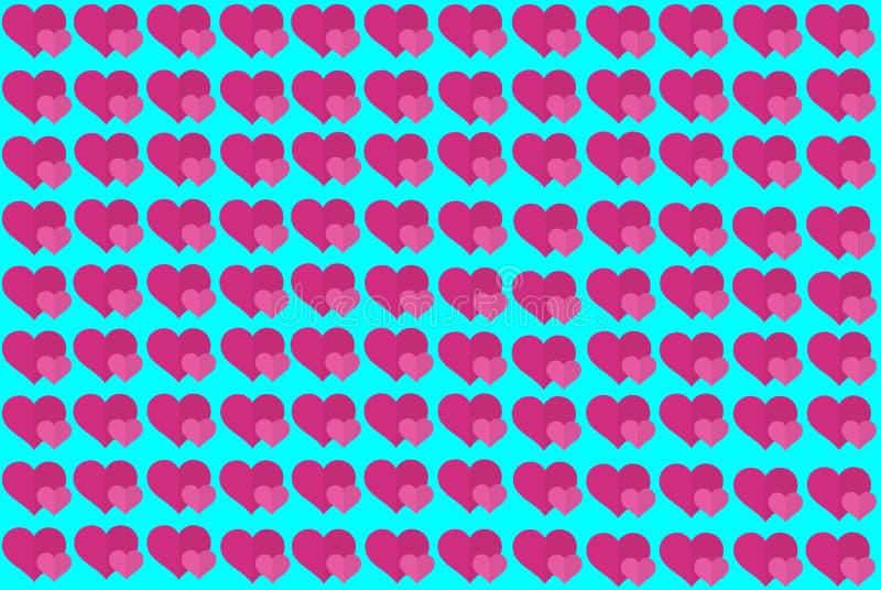 Roze Hartvorm op Blauwe Achtergrond Harten Dot Design Kan voor Artikelen, Druk, Illustratiedoel, achtergrond worden gebruikt, royalty-vrije illustratie