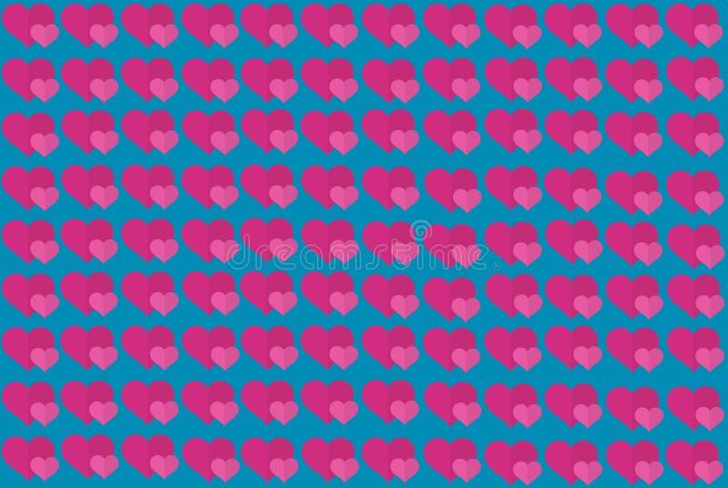 Roze Hartvorm op Blauwe Achtergrond Harten Dot Design Kan voor Artikelen, Druk, Illustratiedoel, achtergrond worden gebruikt, stock illustratie