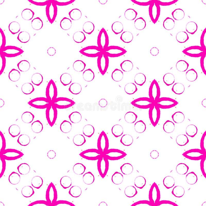 Roze helder cirkels naadloos patroon Hand getrokken w stock illustratie