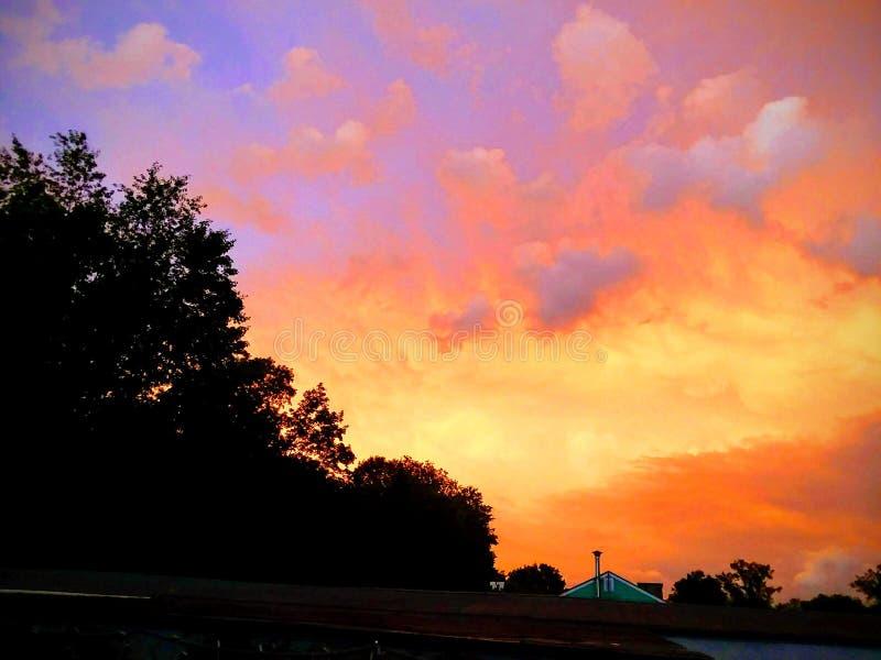 Roze hemel bij nacht Sailor& x27; s Verrukking royalty-vrije stock afbeelding