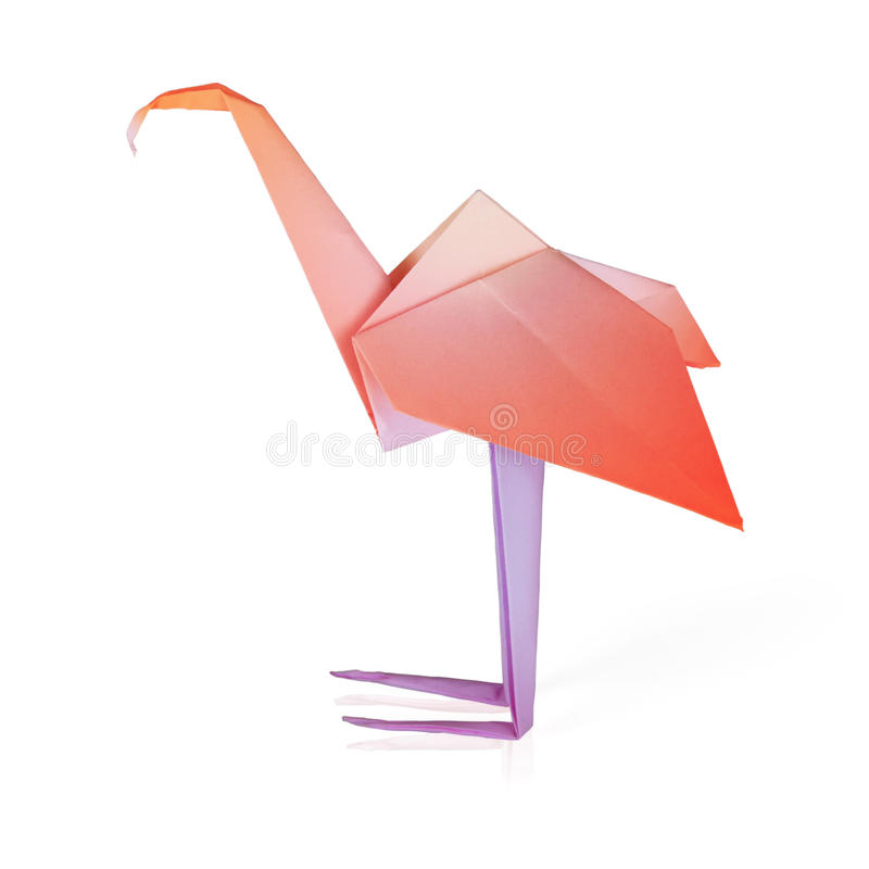 Roze het document van de origami flamingo stock foto