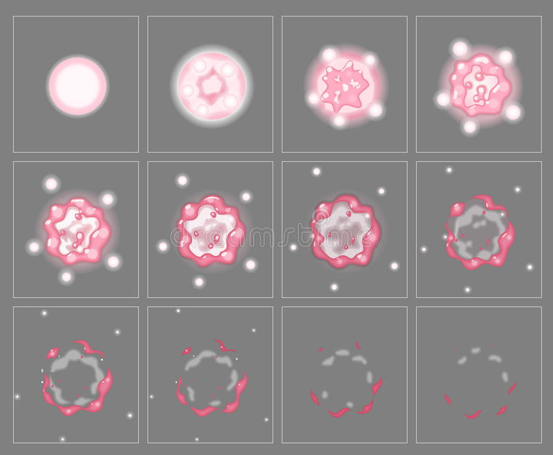 Roze het effect van de brandexplosie speciale animatiekaders vector illustratie