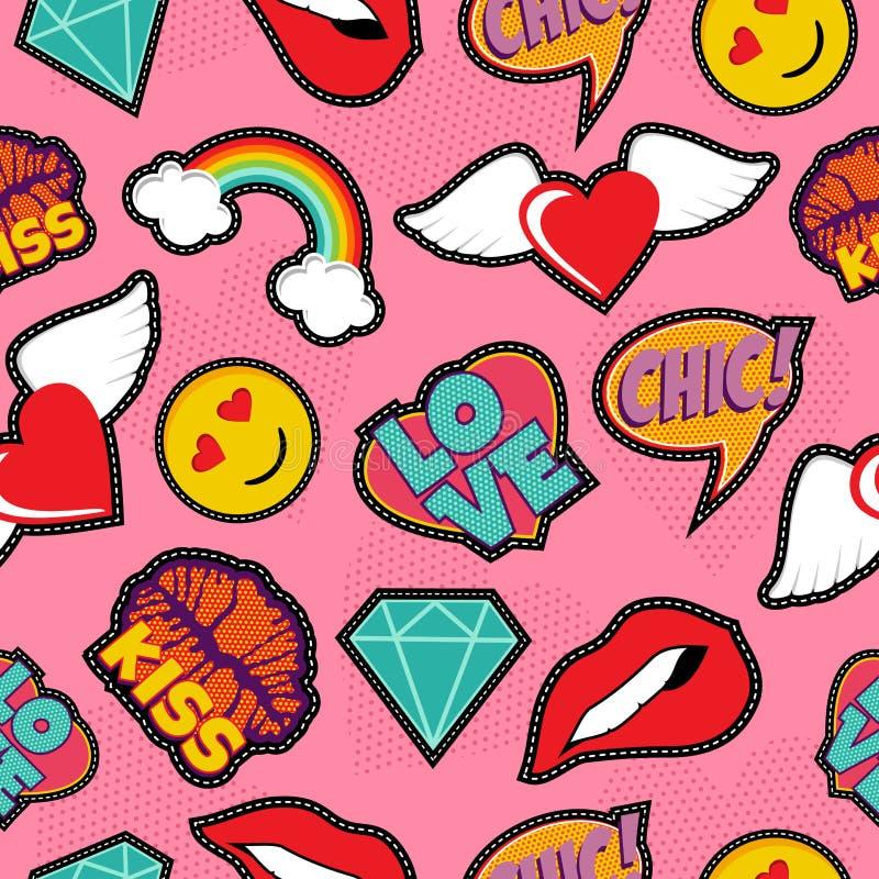 Roze het flard naadloos patroon van de pop-artsteek vector illustratie