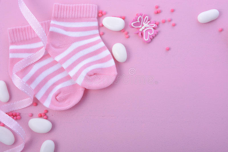 Roze het Kinderdagverblijfachtergrond van de Babydouche stock afbeeldingen