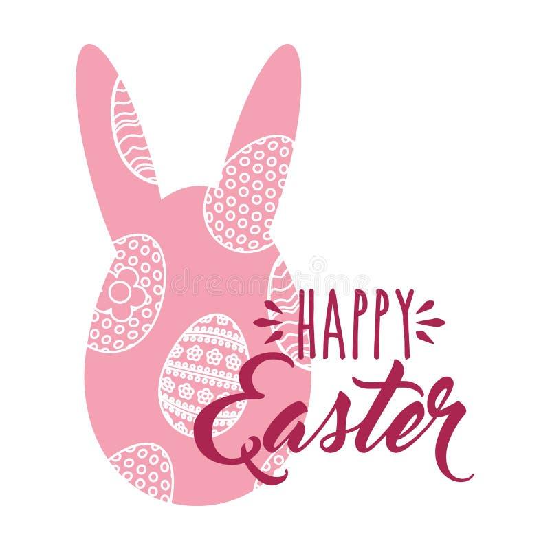 Roze het konijnei gelukkige Pasen van silhouetoren stock illustratie