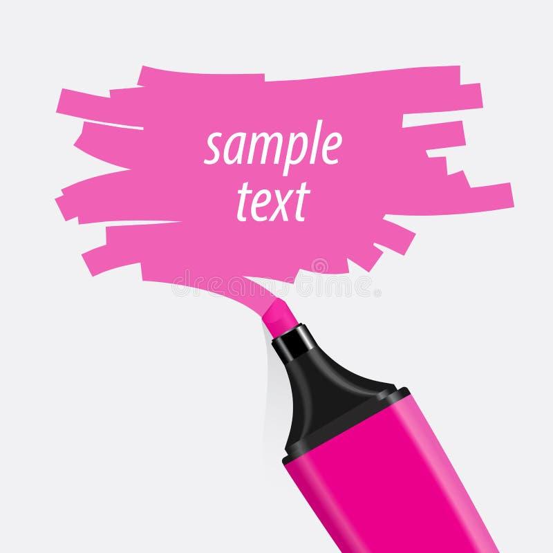 Roze highlightervector stock illustratie