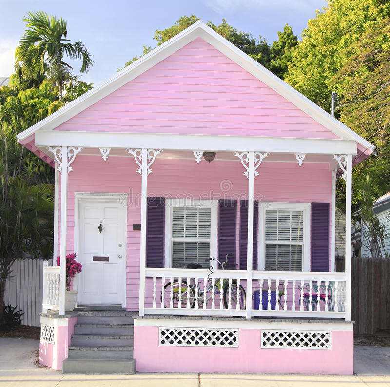 Roze huurhuis in Key West, Florida royalty-vrije stock foto