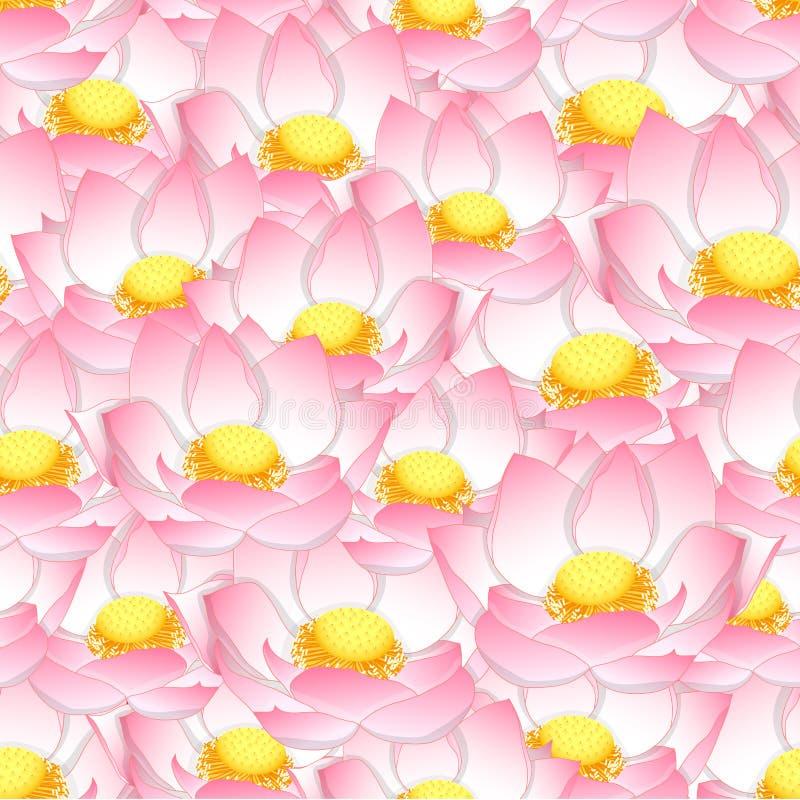 Roze Indische lotusbloem Naadloze Achtergrond stock illustratie