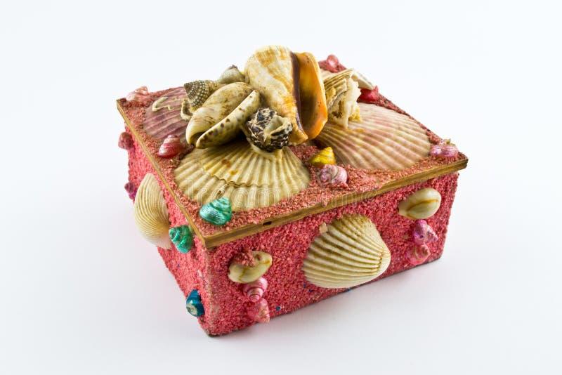Roze juwelendoos met shells royalty-vrije stock foto's