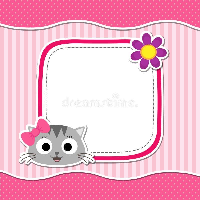 Roze kaart met kat royalty-vrije illustratie