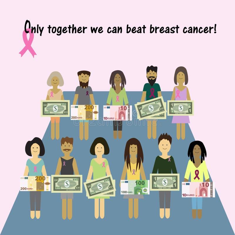 Roze kanker van de lintborst Geld voor de diagnose vector illustratie