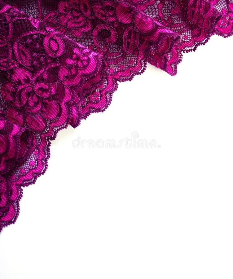 Roze kantgrens op wit stock foto