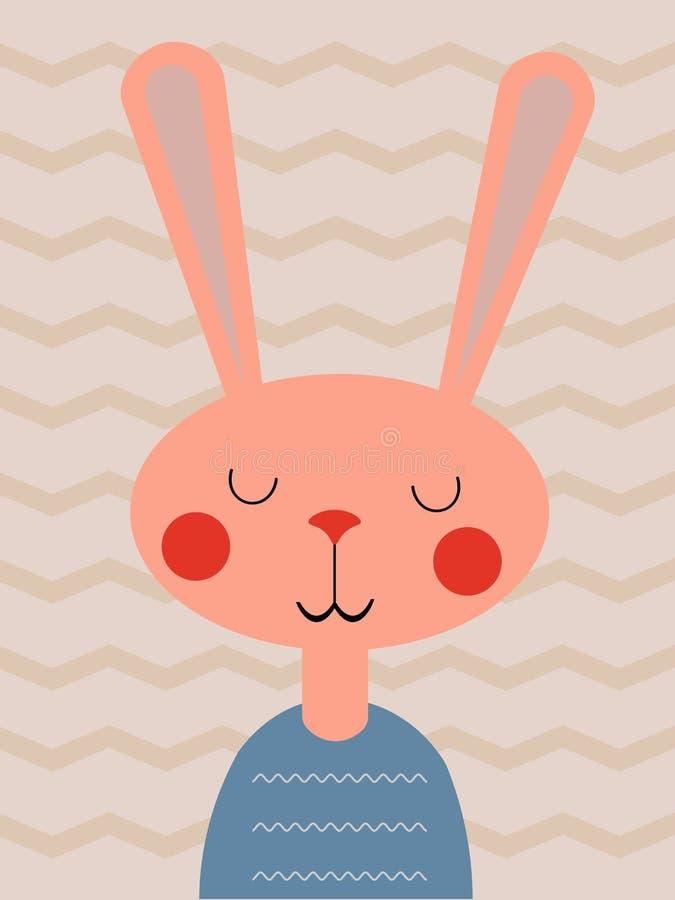 Roze konijn op een lichte achtergrond royalty-vrije illustratie