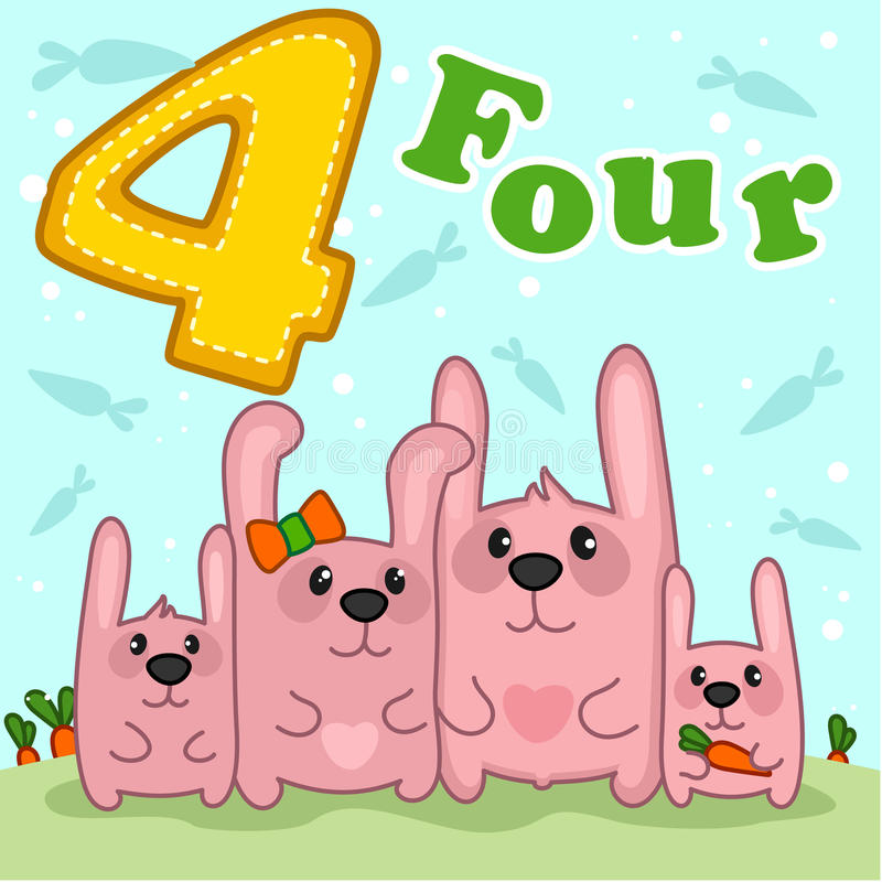 Roze konijn vier vector illustratie