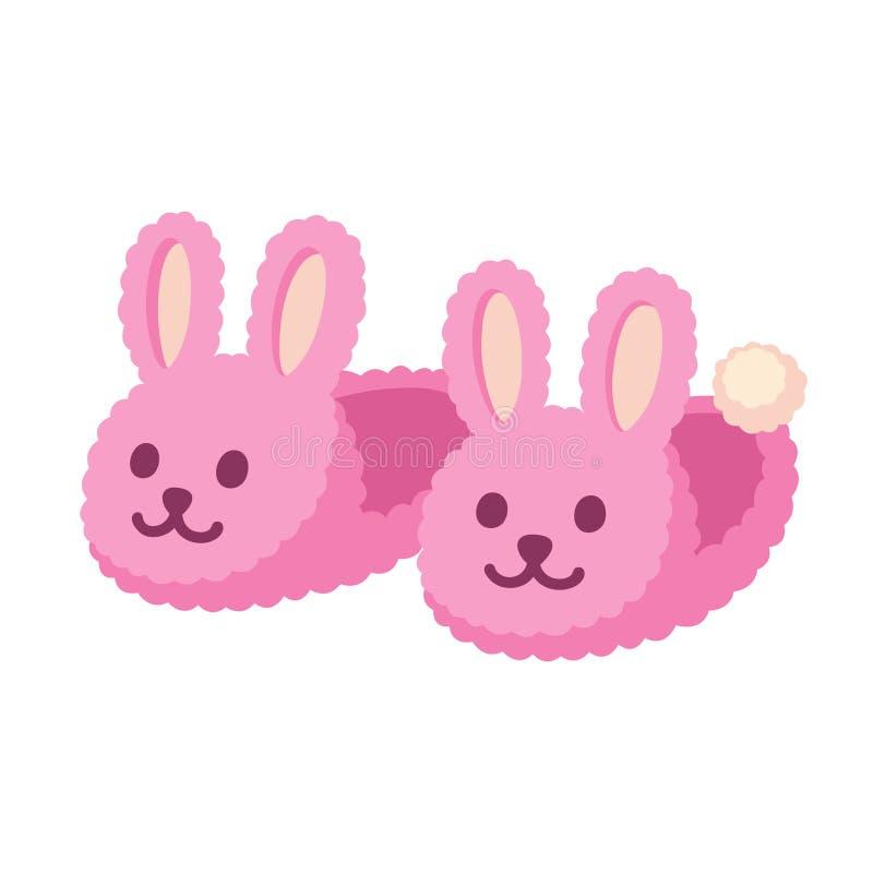 Roze konijntjespantoffels stock illustratie