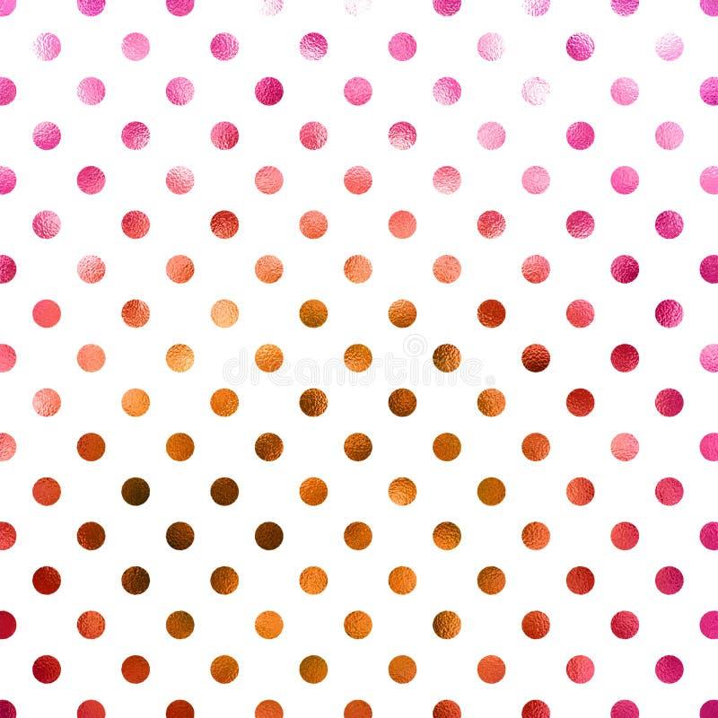 Roze Koper Gouden Polka Dot Pattern stock afbeelding
