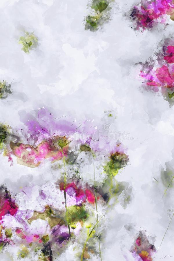 Roze kosmosgebied op witte achtergrond Het digitale waterverf schilderen royalty-vrije illustratie