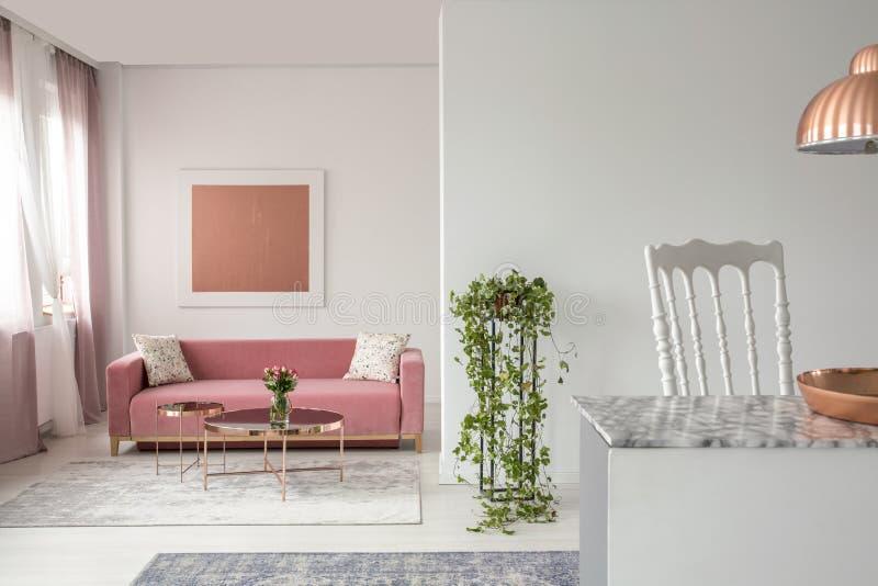 Roze laag, installatie in een woonkamerbinnenland en het eiland van de open plekkeuken royalty-vrije stock afbeeldingen
