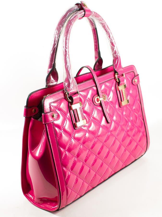 Roze Leathe-handtas stock fotografie