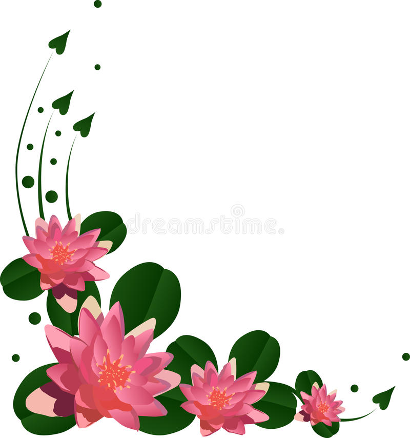 Roze leliebloemen met groene bladeren royalty-vrije illustratie