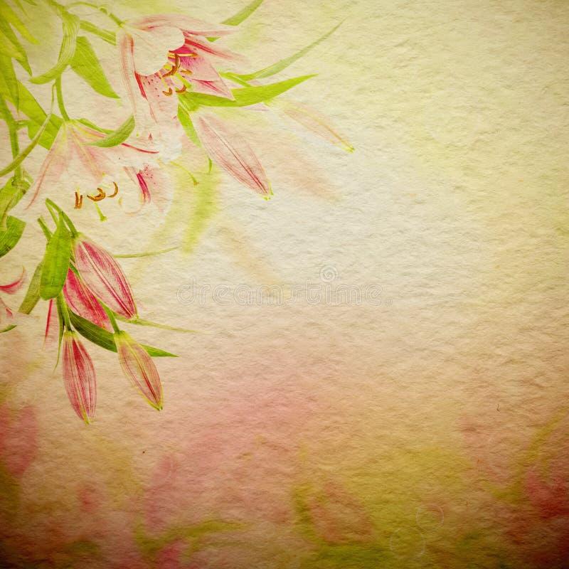 Roze leliesachtergrond vector illustratie