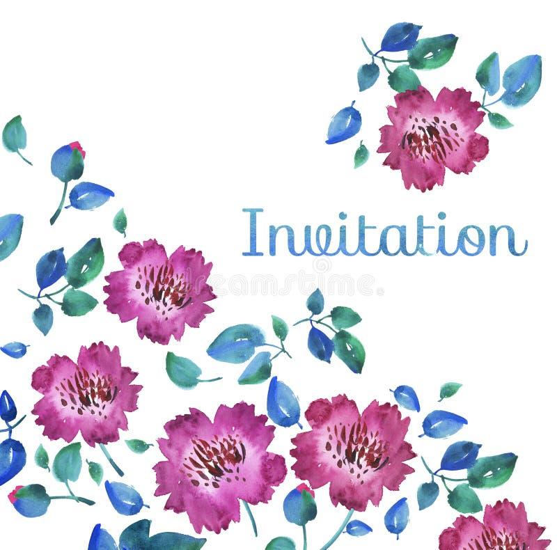 Roze levendige abstracte bloemen Hand getrokken illustratie vector illustratie