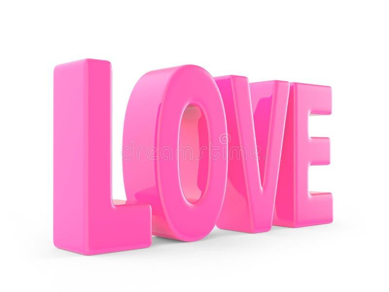 Roze liefdewoord in 3d stock illustratie
