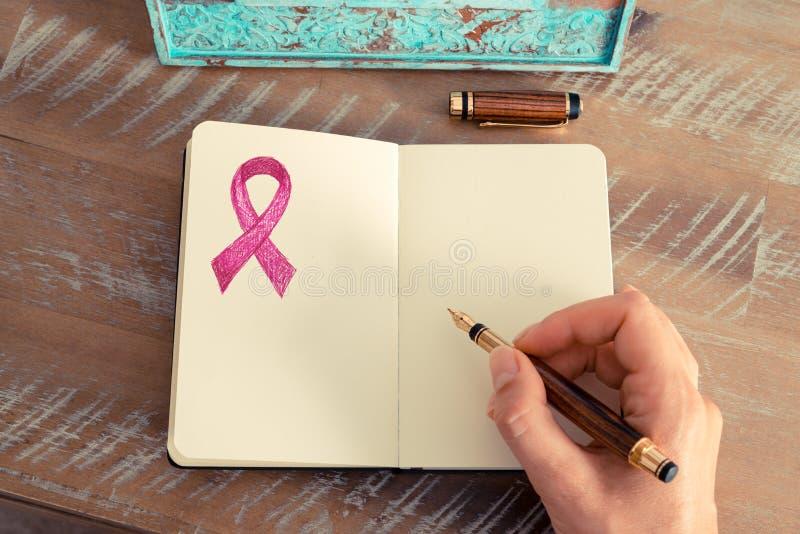 Roze lint als de voorlichtingssymbool van borstkanker royalty-vrije stock foto's