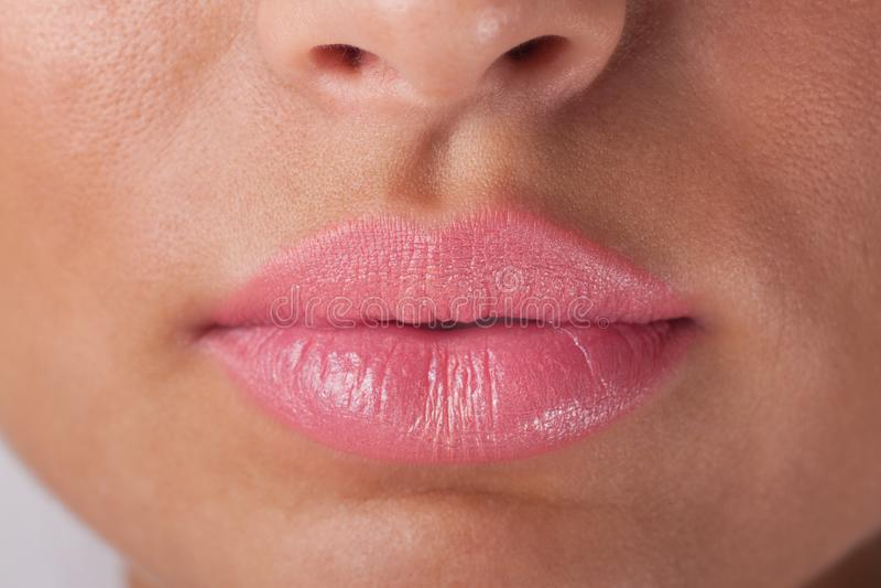Roze lippen royalty-vrije stock afbeeldingen