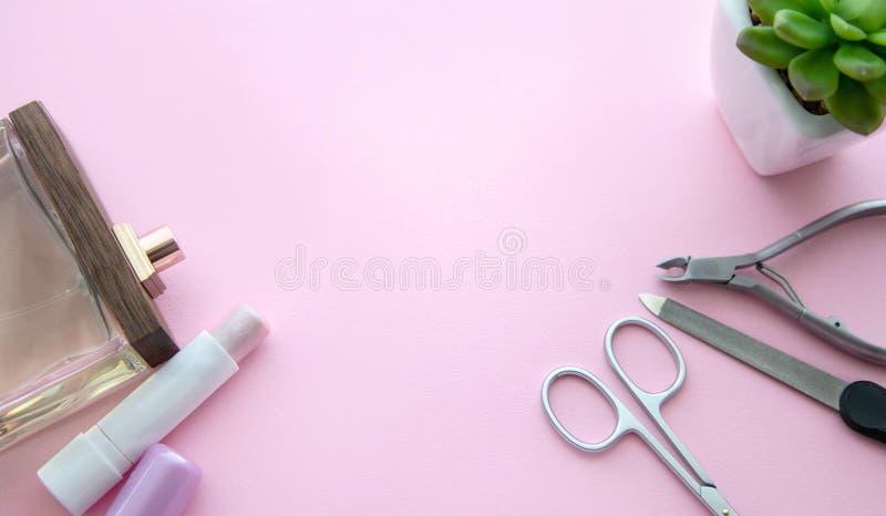 Roze lippenstift, parfumfles, manicureschaar, nagelvijl, opperhuidtangen en groene bloem in een witte pot op een roze achtergrond royalty-vrije stock fotografie