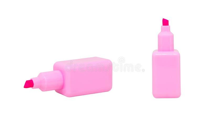 Roze magische pennen of tellers of highlighter geïsoleerd op witte achtergrond royalty-vrije stock foto's